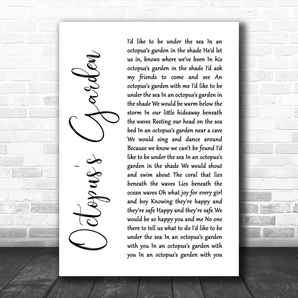 Octopus/'s Garden Vintage Heart Song Lyric Quote Print