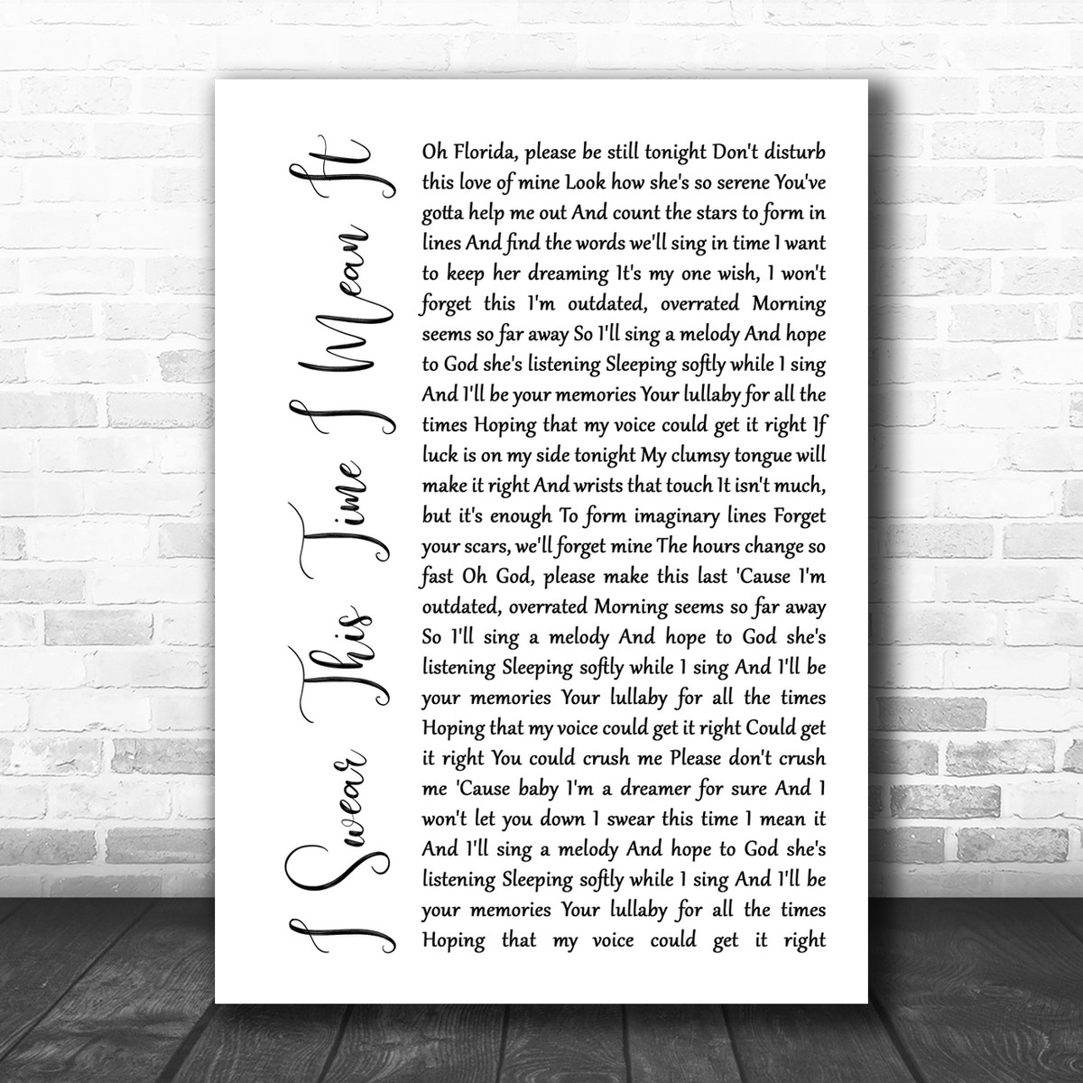 Mayday Parade I Swear This Time I Mean It White Script Song Lyric Music  Wall Art Print