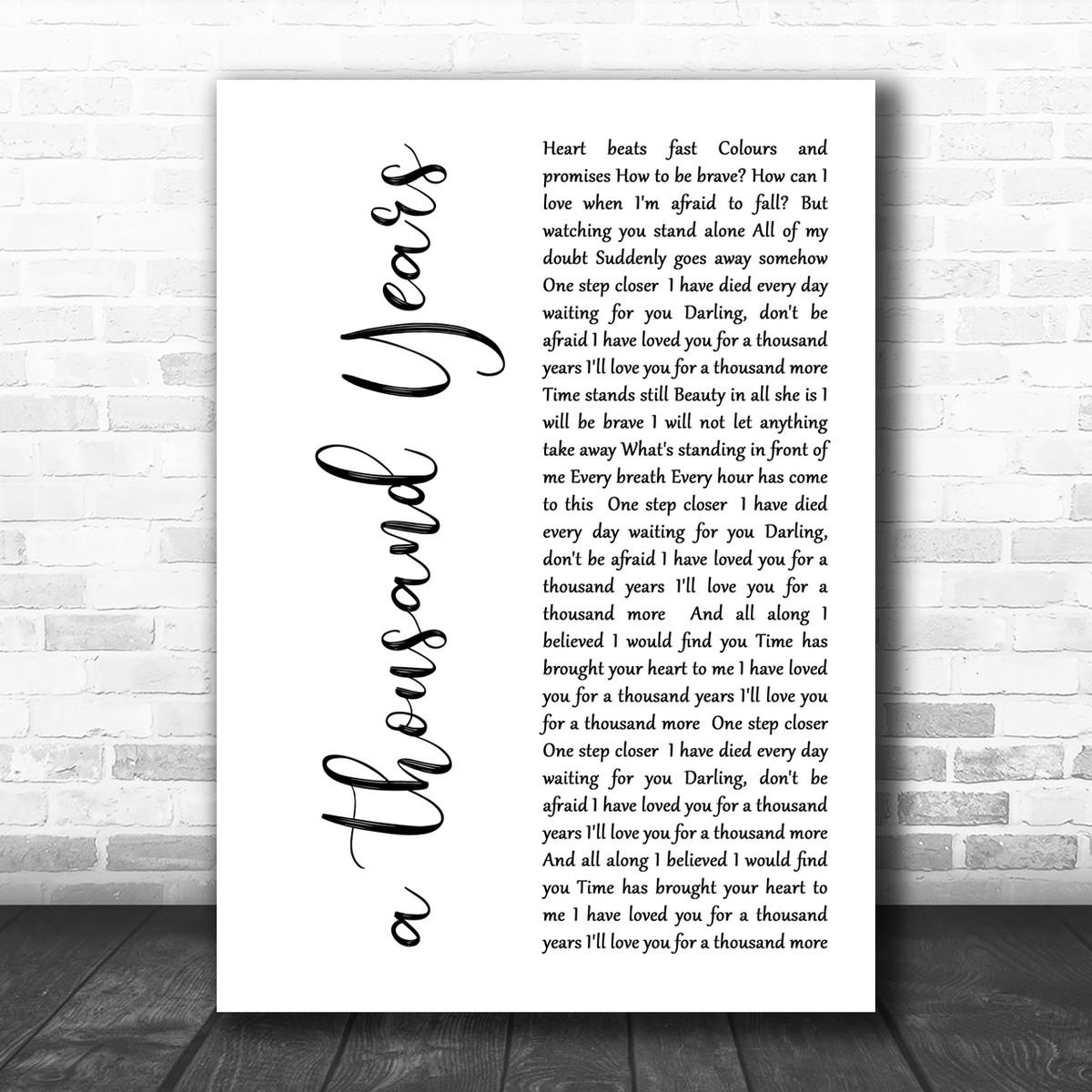 Personalised Framed Song Lyrics Print Christina Perri /'A Thousand Years/'