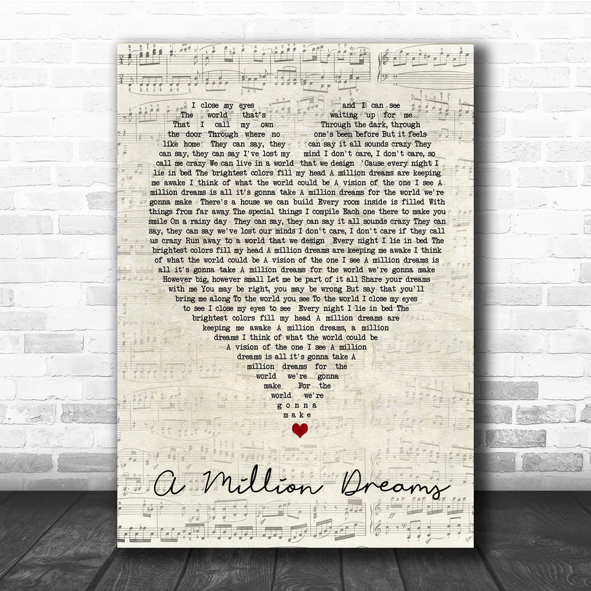 image about A Million Dreams Lyrics Printable identified as A Million Needs The Most important Showman Script Middle Music Lyric Quotation Print