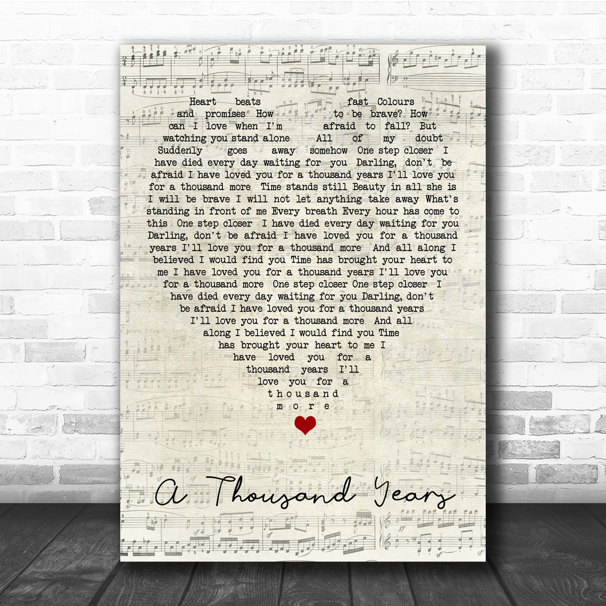 1000 Years Christina Perri a thousand years christina perri script heart quote song lyric print