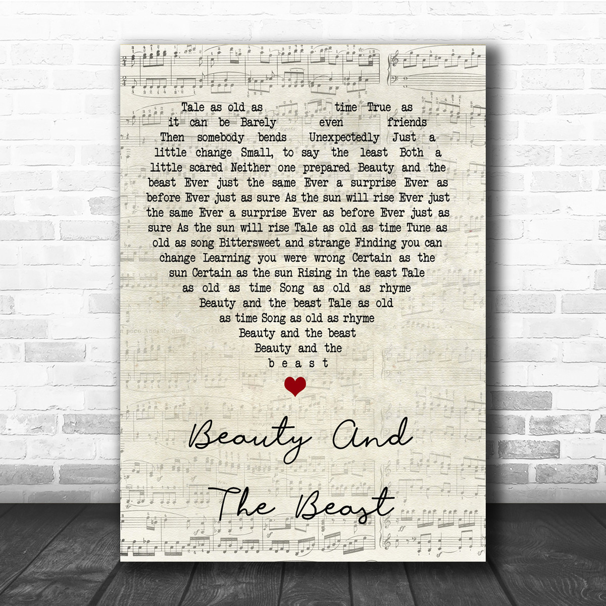 Beauty And The Beast Black Heart Song Lyric Quote Print