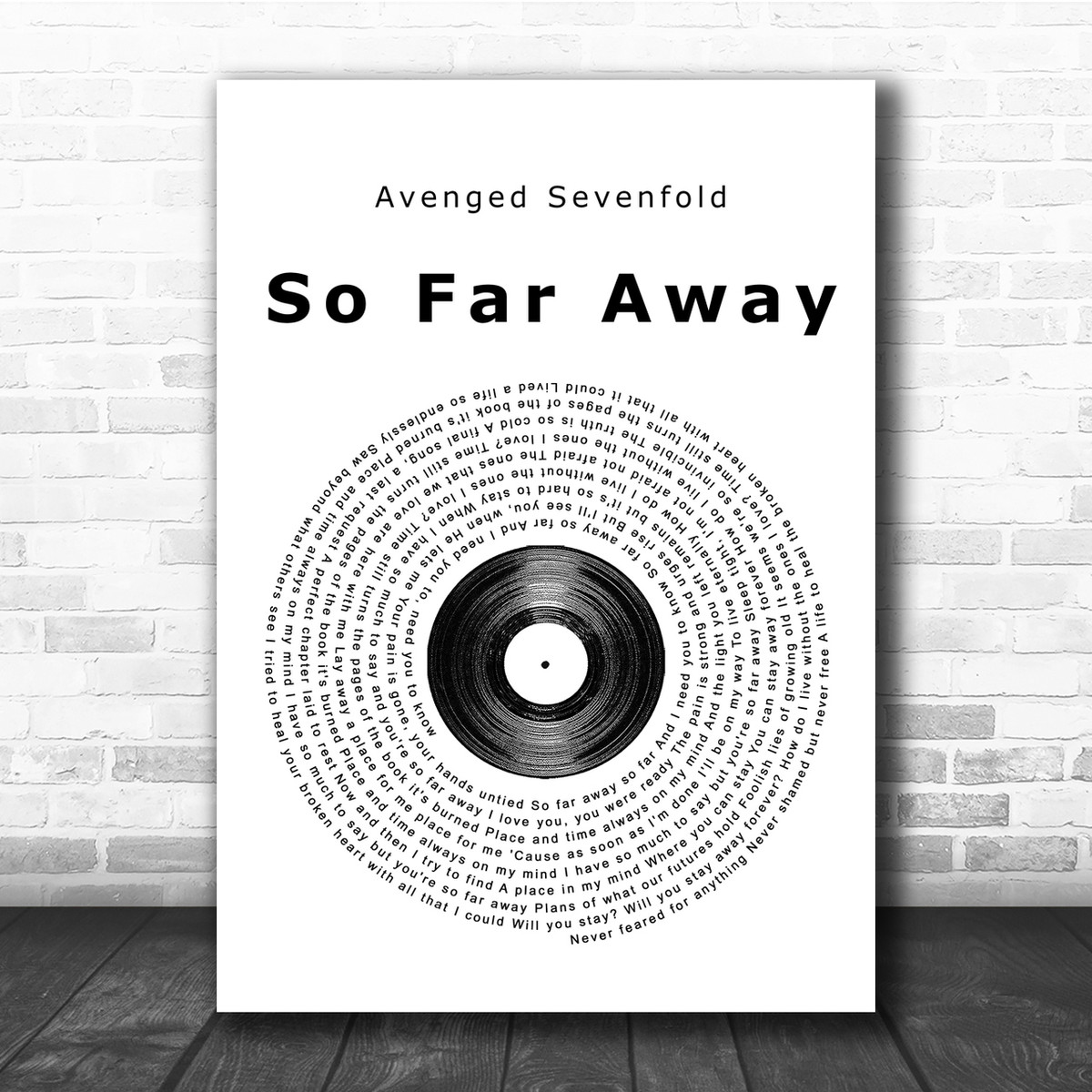 Avenged Sevenfold So Far Away Vinyl Record Song Lyric Quote Print