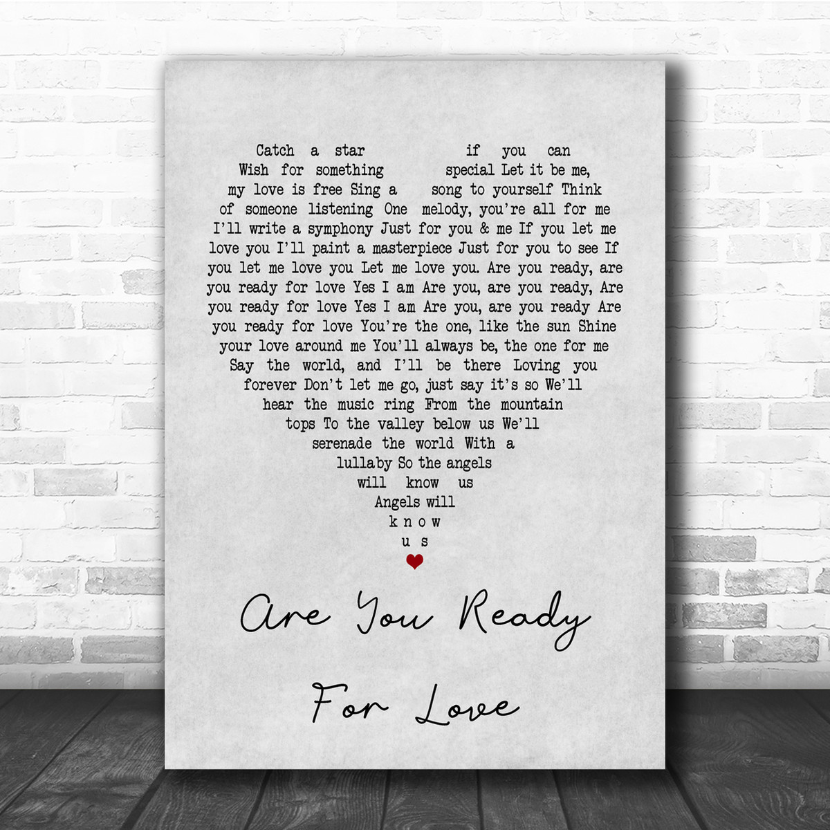 Elton John Are You Ready For Love Grey Heart Quote Song Lyric Print Song Lyric Designs