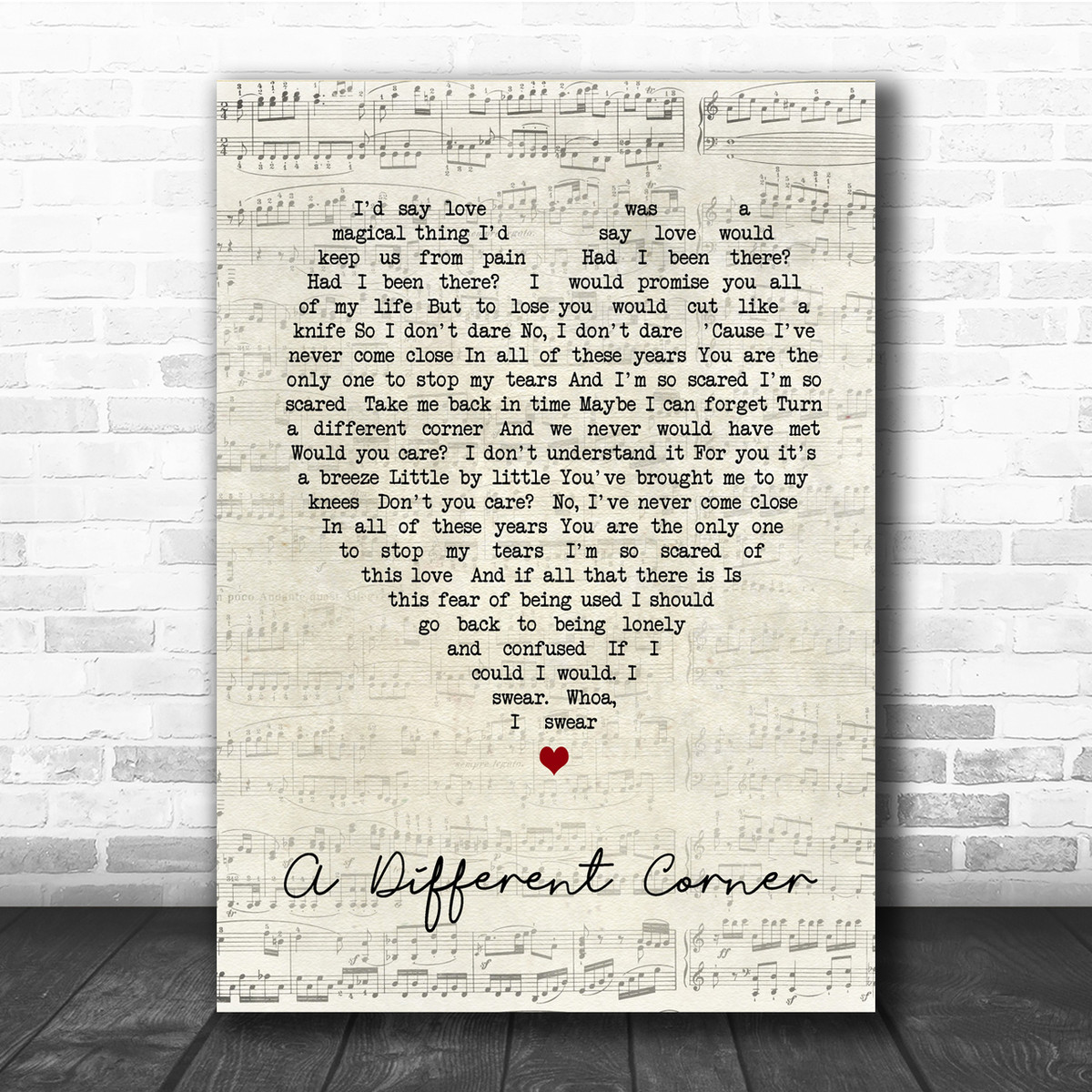 A Different Corner Vintage Script Song Lyric Quote Print