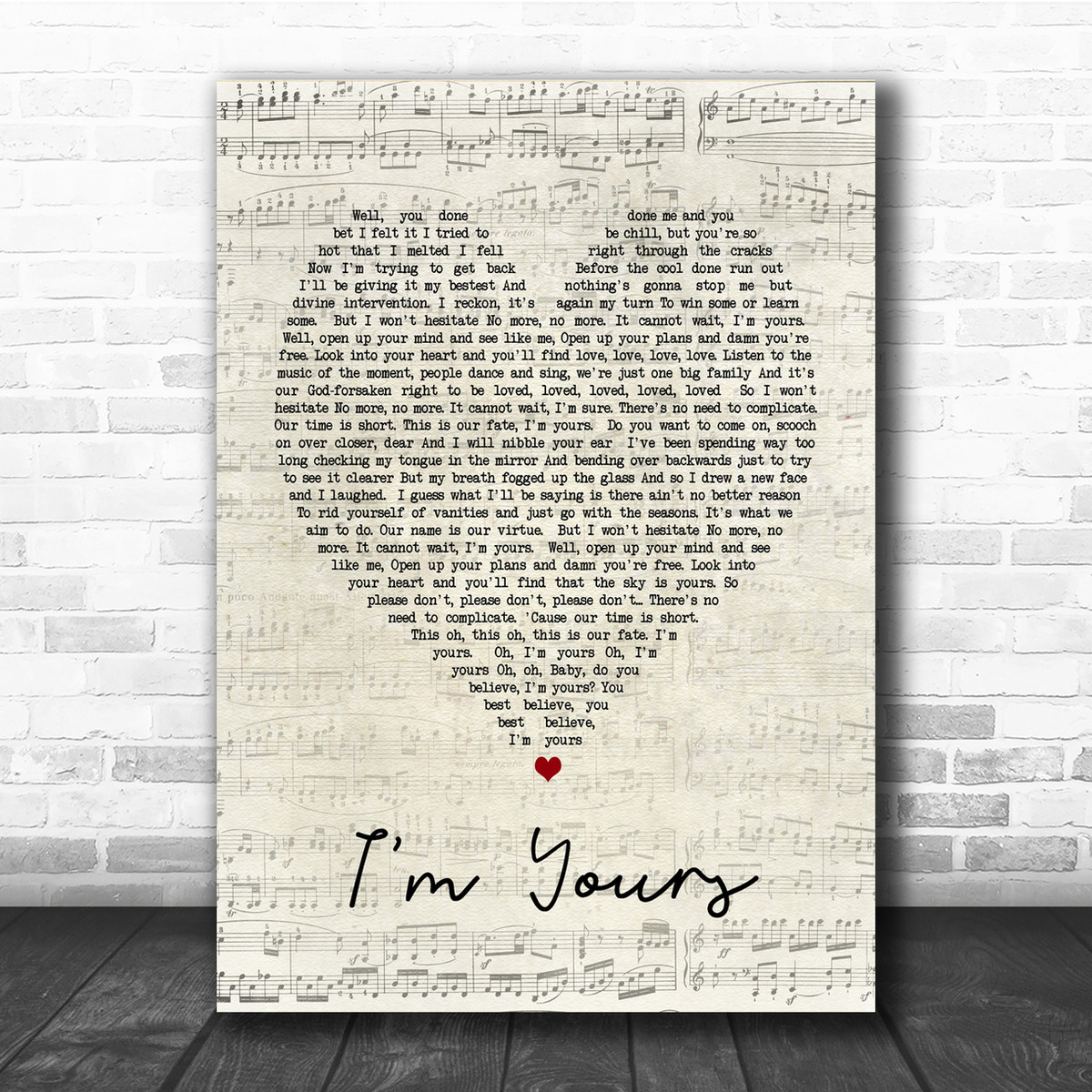 I/'m Yours Grey Heart Song Lyric Quote Print