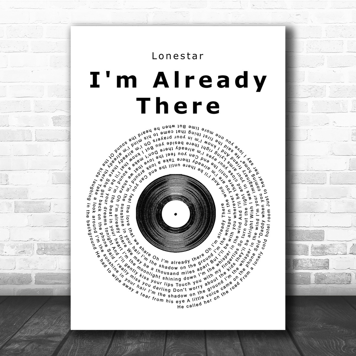 Lonestar Amazed Vinyl Record Song Lyric Quote Print