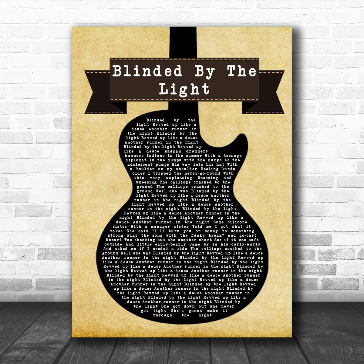 Manfred Mann S Earth Band Blinded By The Light Black Guitar Song Lyric Print