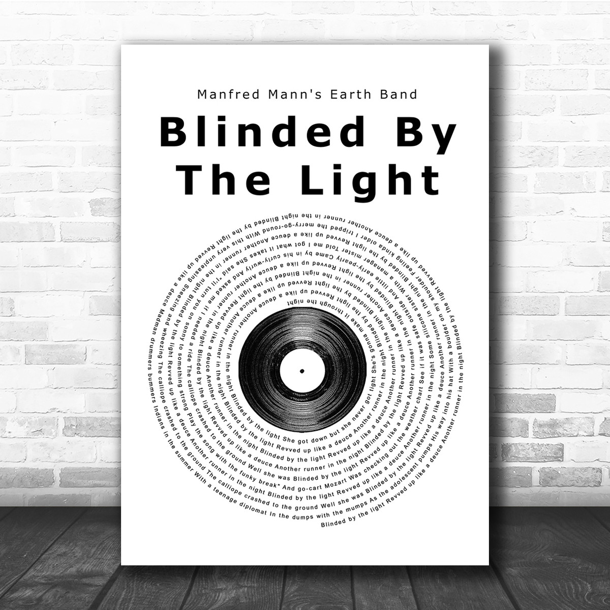 Manfred Mann S Earth Band Blinded By The Light Vinyl Record Song Lyric Print