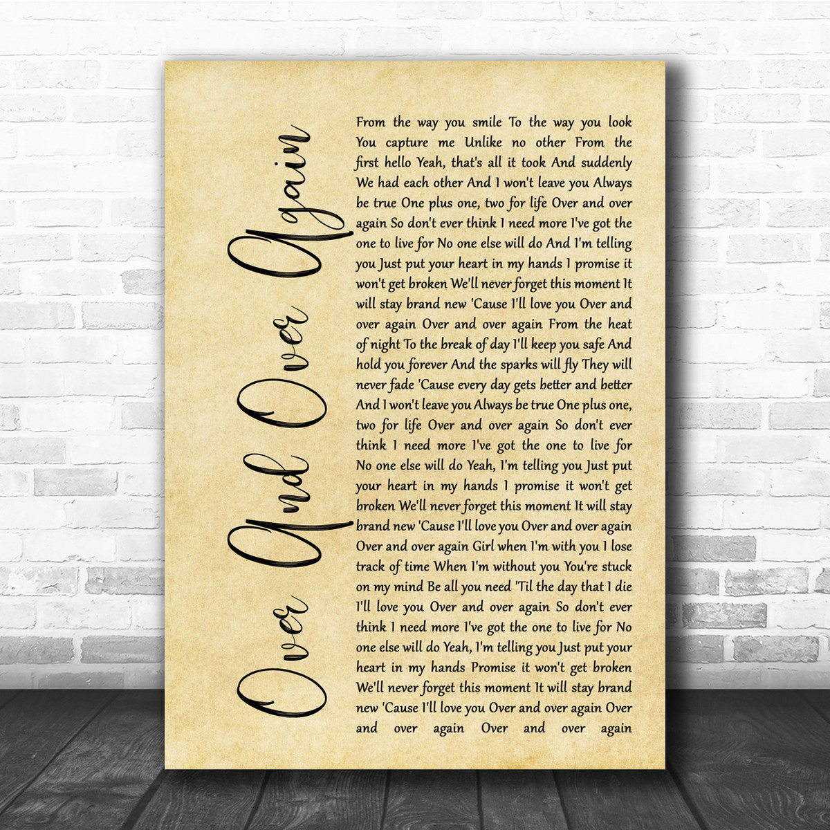Nathan Sykes Over And Over Again Rustic Script Song Lyric Quote Print