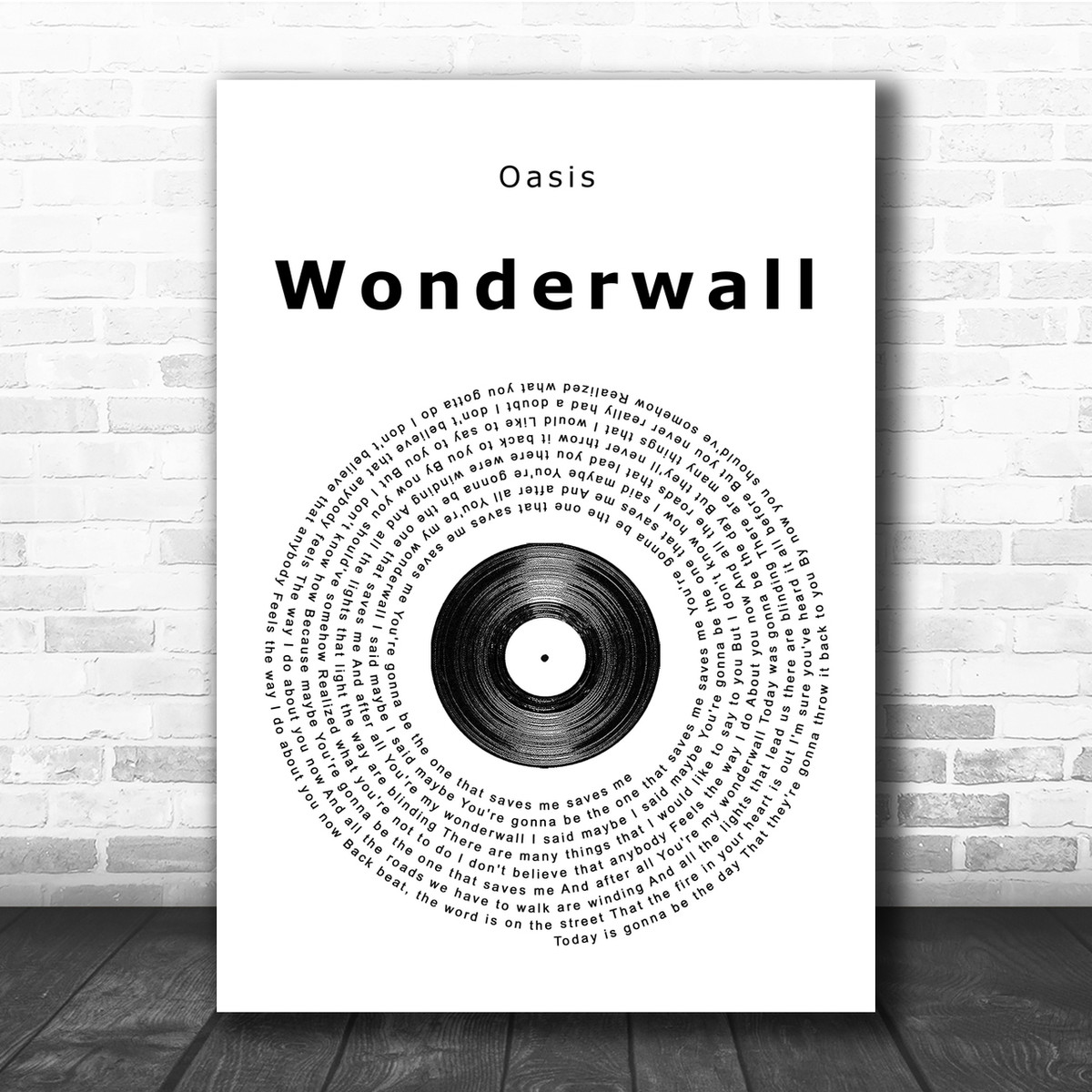 Wonderwall Grey Heart Song Lyric Quote Print