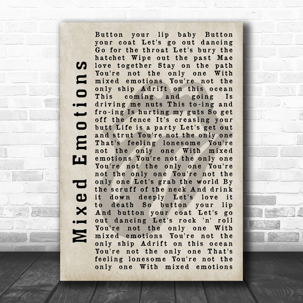 The Rolling Stones Mixed Emotions Shadow Song Lyric Quote Print