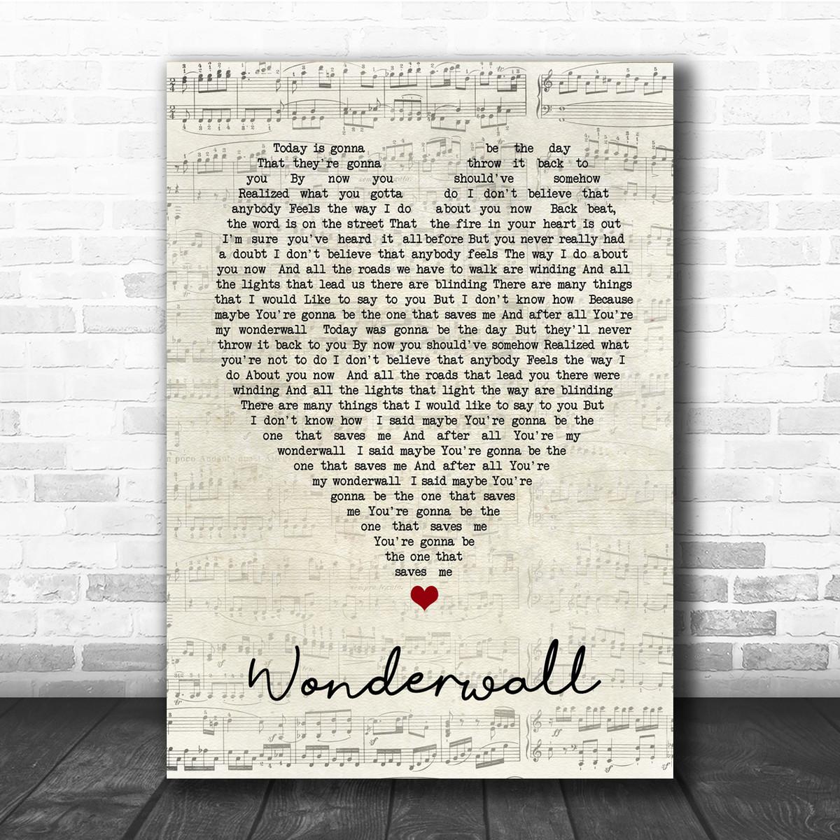 Personalised Framed Song Lyrics Print Oasis /'Wonderwall/'
