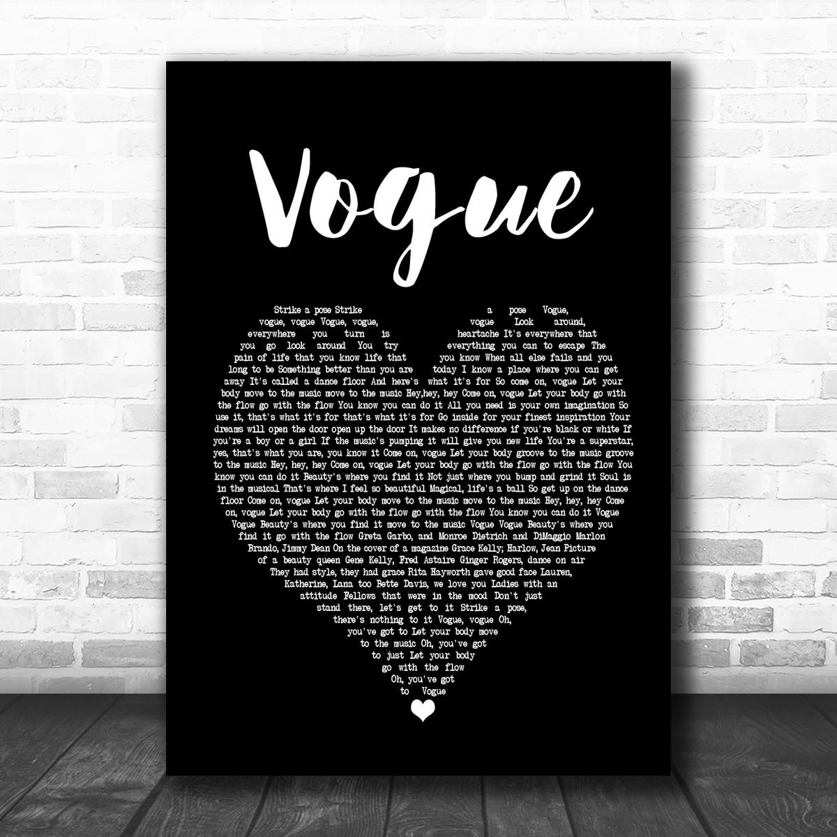 Madonna Vogue Black Heart Song Lyric Poster Print