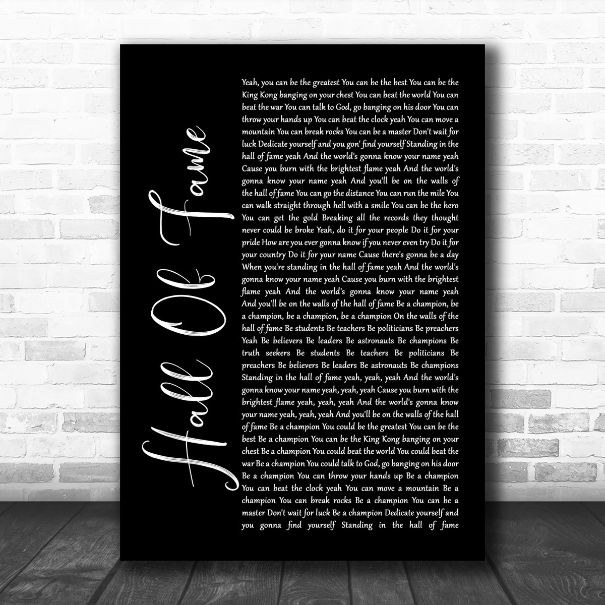 The Script Hall Of Fame Black Script Song Lyric Poster Print