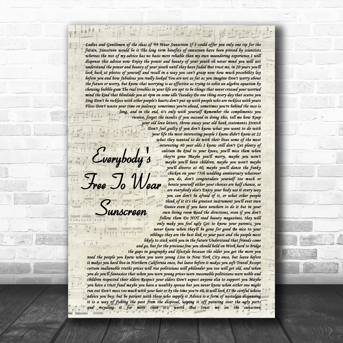 Baz Luhrmann Everybodys Free To Wear Sunscreen Vintage Script Song Lyric Poster Print