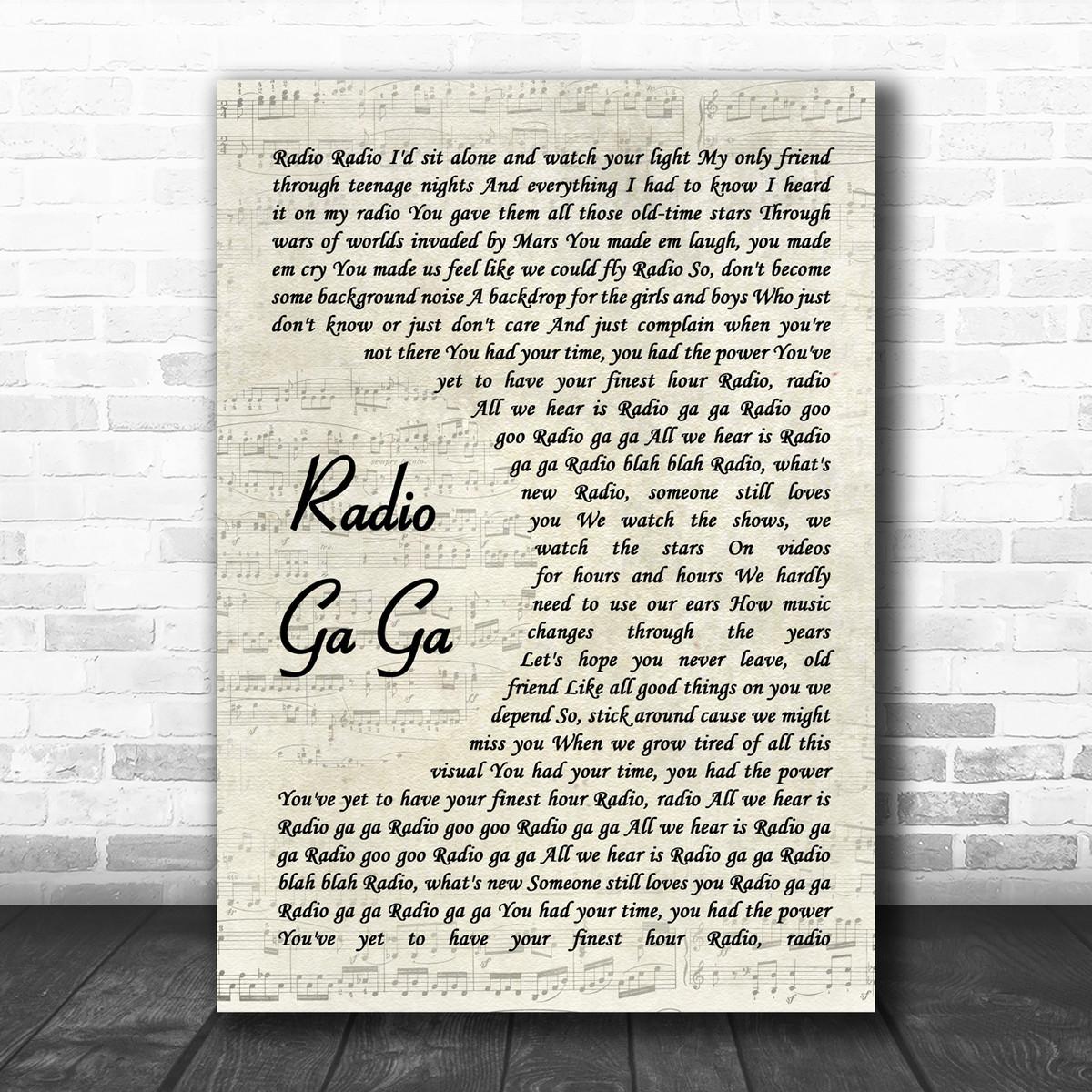 Radio Ga Ga Vintage script Canción Letra Impresa