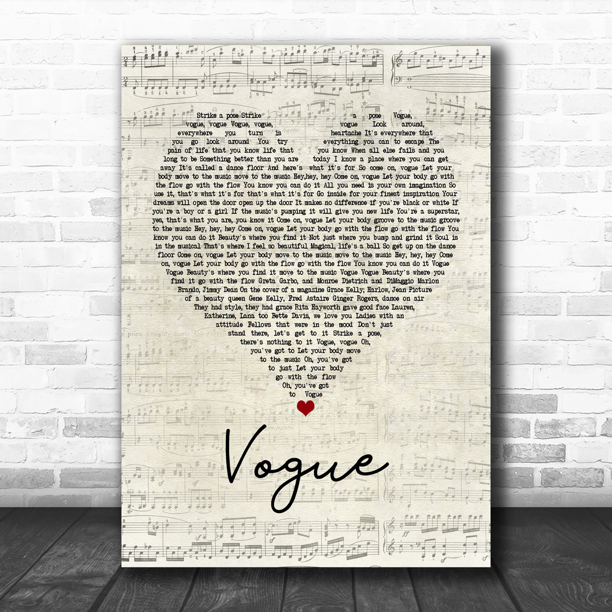 Madonna Vogue Script Heart Song Lyric Poster Print