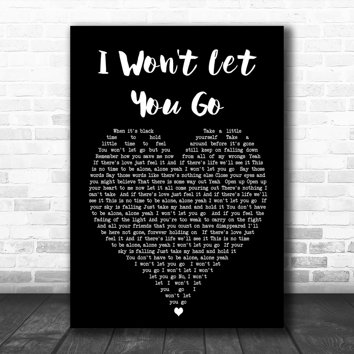 I Won't Let You Go James Morrison Black Heart Song Lyric Music Wall Art  Print