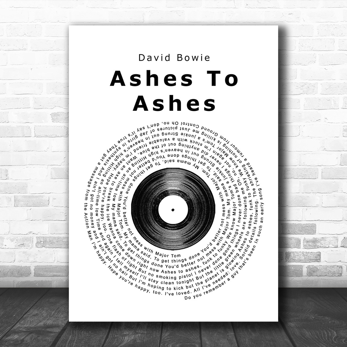 David Bowie Ashes To Ashes Vinyl Record Song Lyric Poster Print