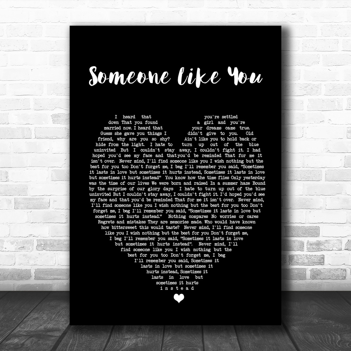 Someone Like You Adele Black Heart Song Lyric Music Wall Art Print