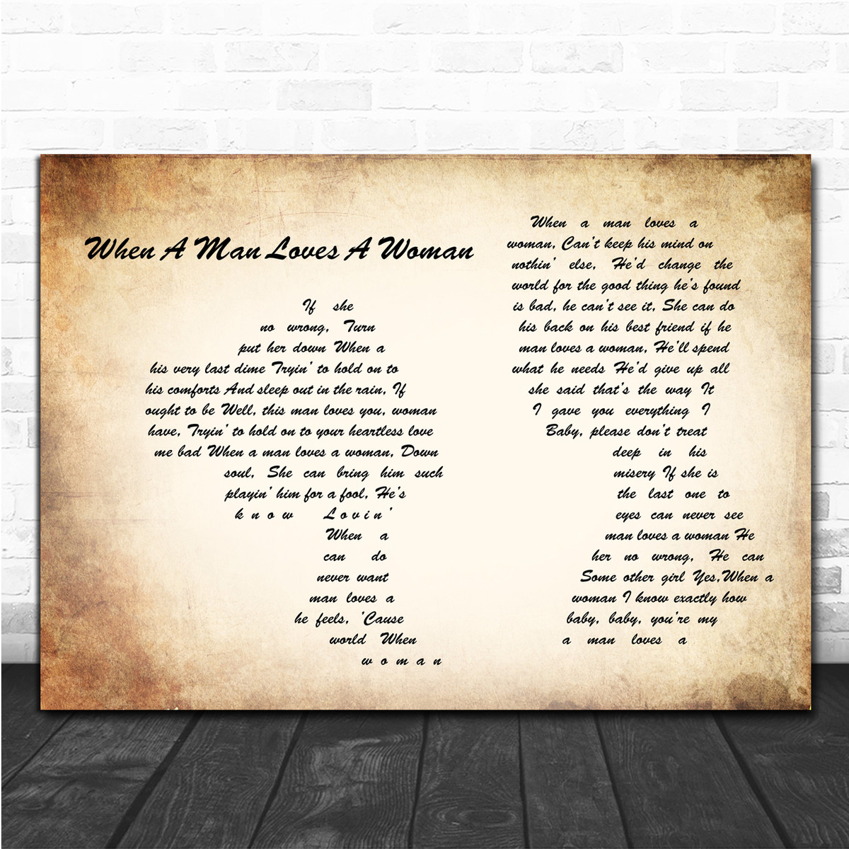 Percy Sledge When A Man Loves A Woman Man Lady Couple Song Lyric Music  Poster Print - Song Lyric Designs
