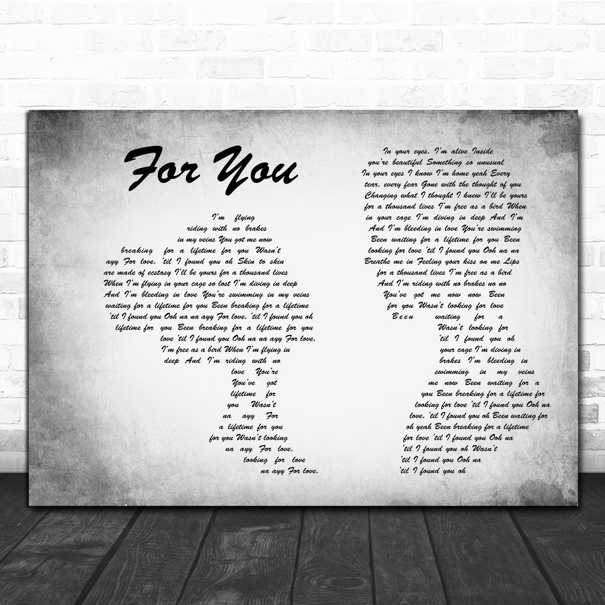 Rita Ora For You Script Heart Song Lyric Quote Print
