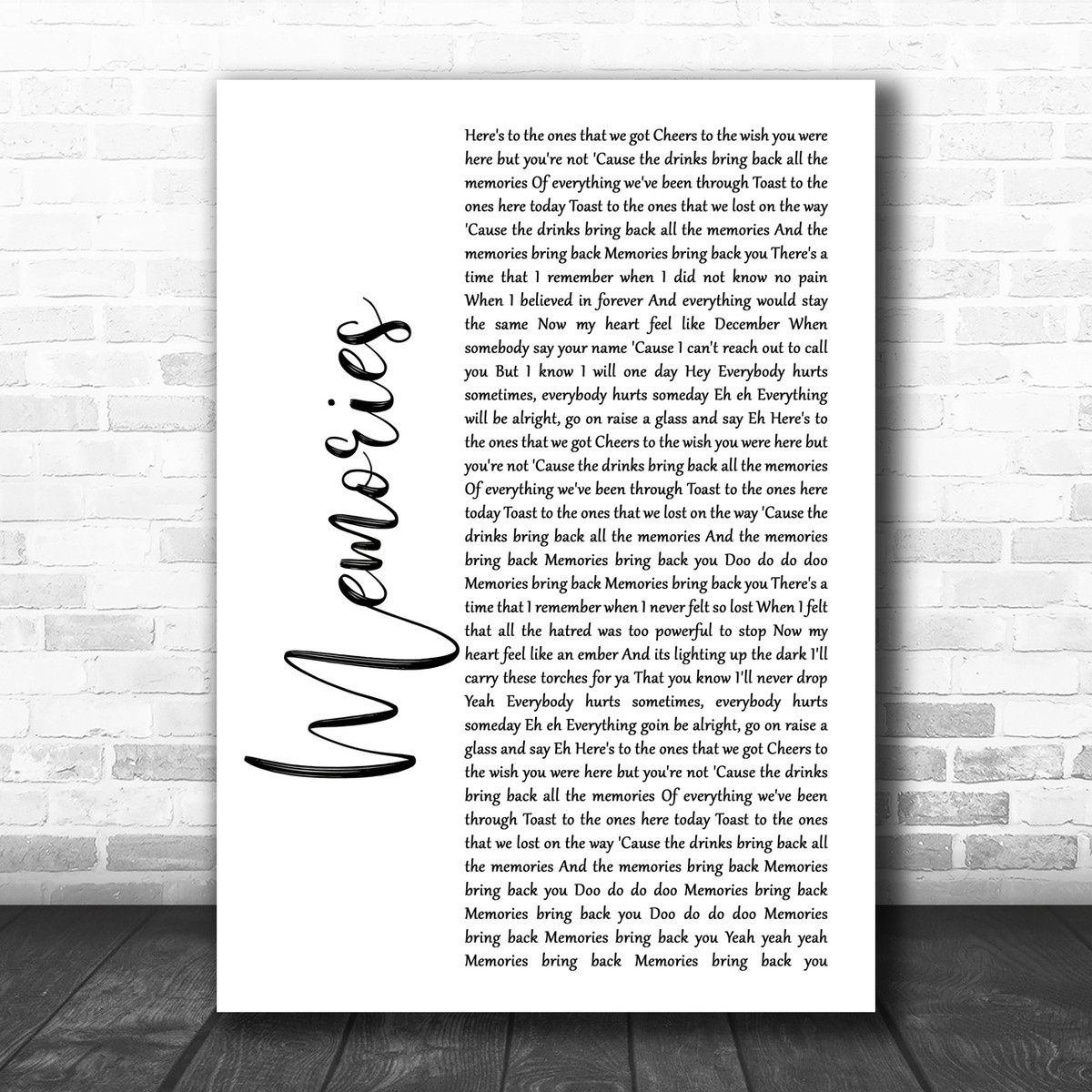 Maroon 5 Memories White Script Song Lyric Print Song Lyric Designs