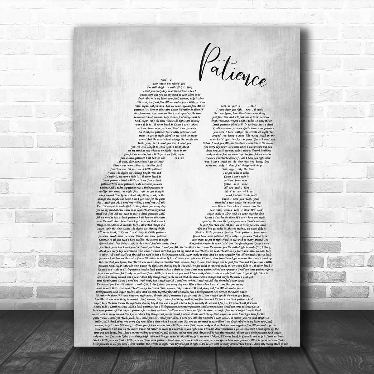 Guns N/' Roses Patience  Music Love Song Lyric Print Art Poster Wedding Gift