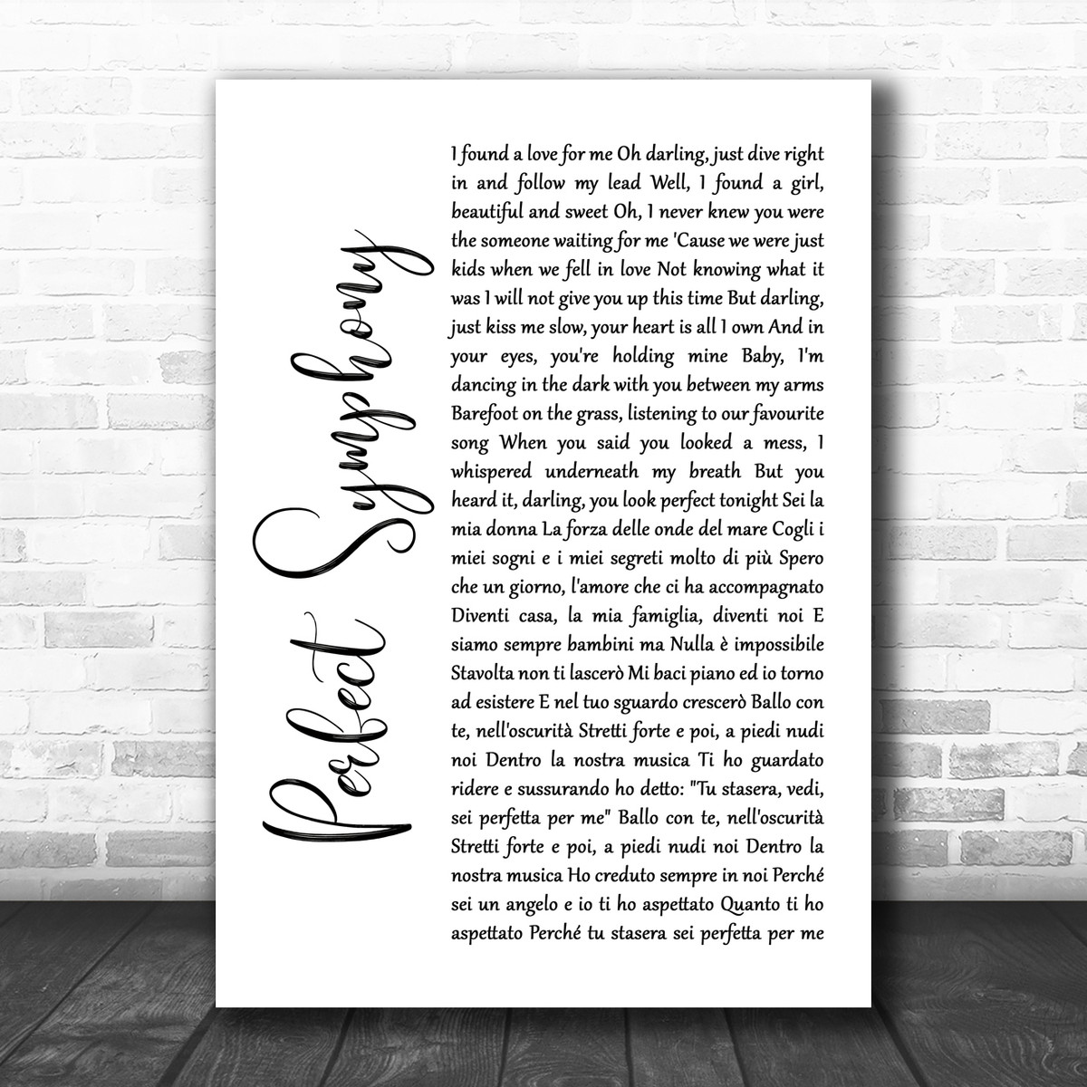 Ed Sheeran & Andrea Bocelli Perfect Symphony White Script Song Lyric Quote  Music Print