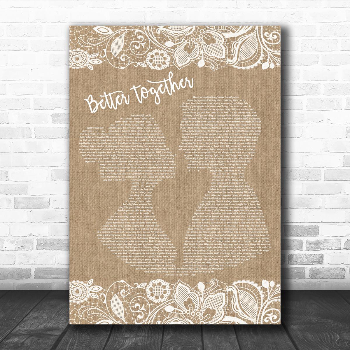 Jack Johnson Better Together Burlap Lace Song Lyric Music Wall Art Print Song Lyric Designs