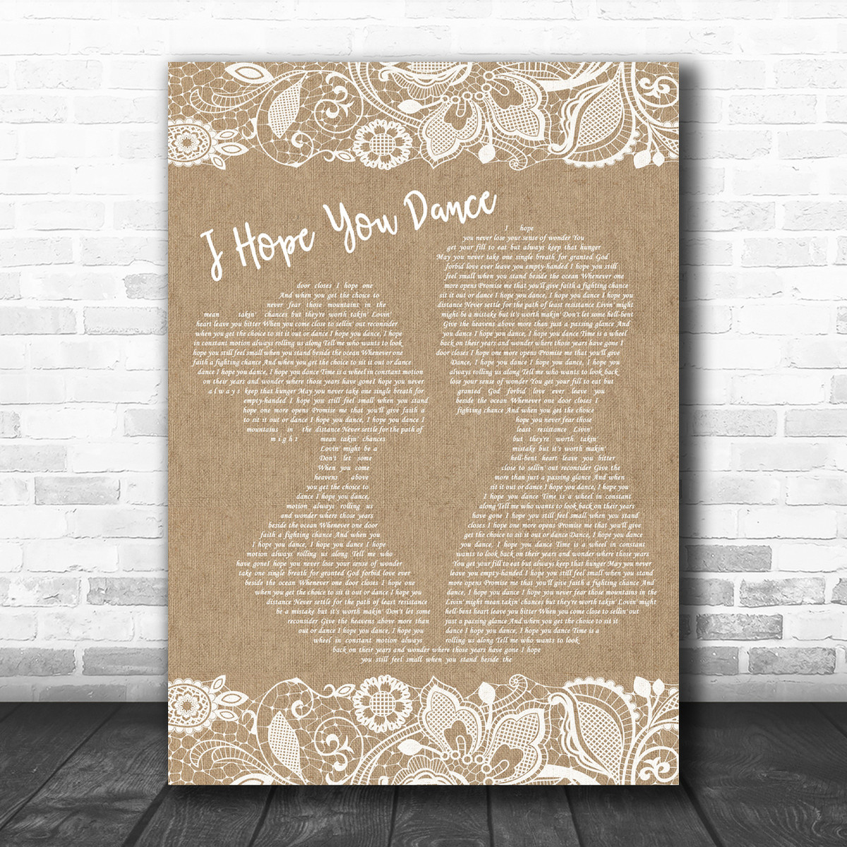 Lee Ann Womack I Hope You Dance Burlap Lace Song Lyric Music Wall Art Print Song Lyric Designs