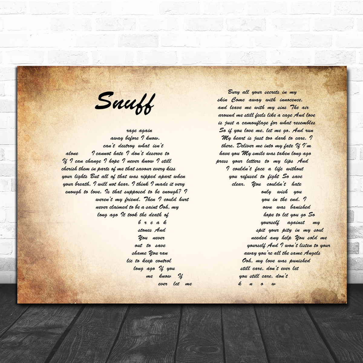 Heart Snuff Lyrics Canvas Bury All Your Secrets In My Skin Song Signature Poster Painting Hang Wall Prints Vertical Posters Living Room Bedroom Home Decor Hang Decoration Gift For Friends Family Paintings