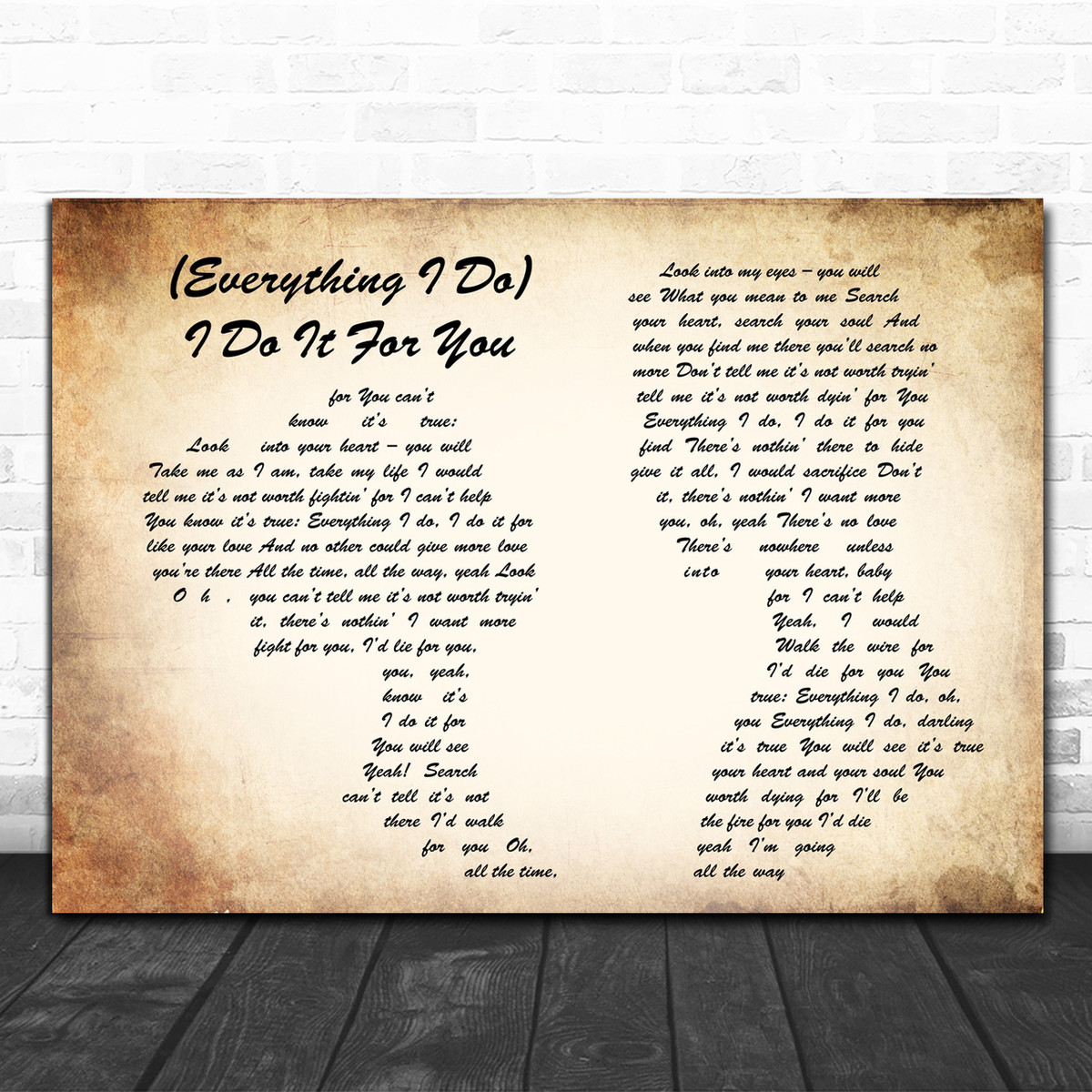 Bryan Adams Everything I Do I Do It For You Man Lady Couple Song Lyric Music Wall Art Print Song Lyric Designs