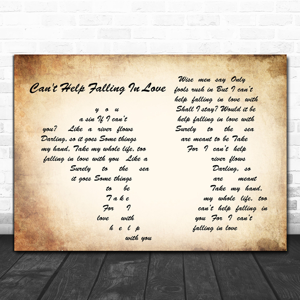 Can/'t Help Falling In Love Rustic Script Song Lyric Quote Print