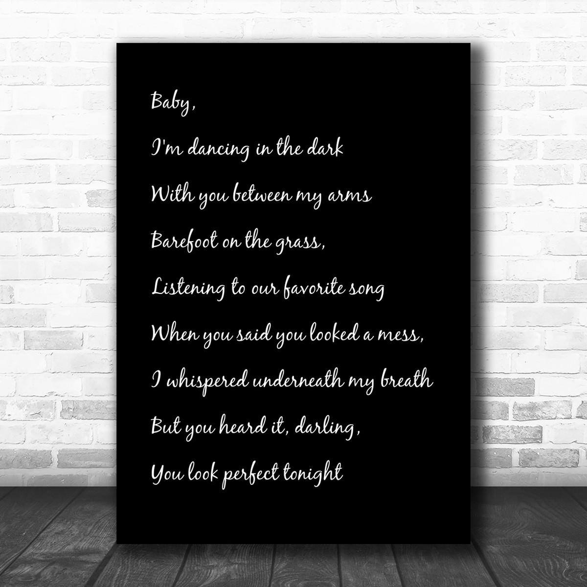 Black White & Black Ed Sheeran Perfect Song Lyric Music Wall Art Print