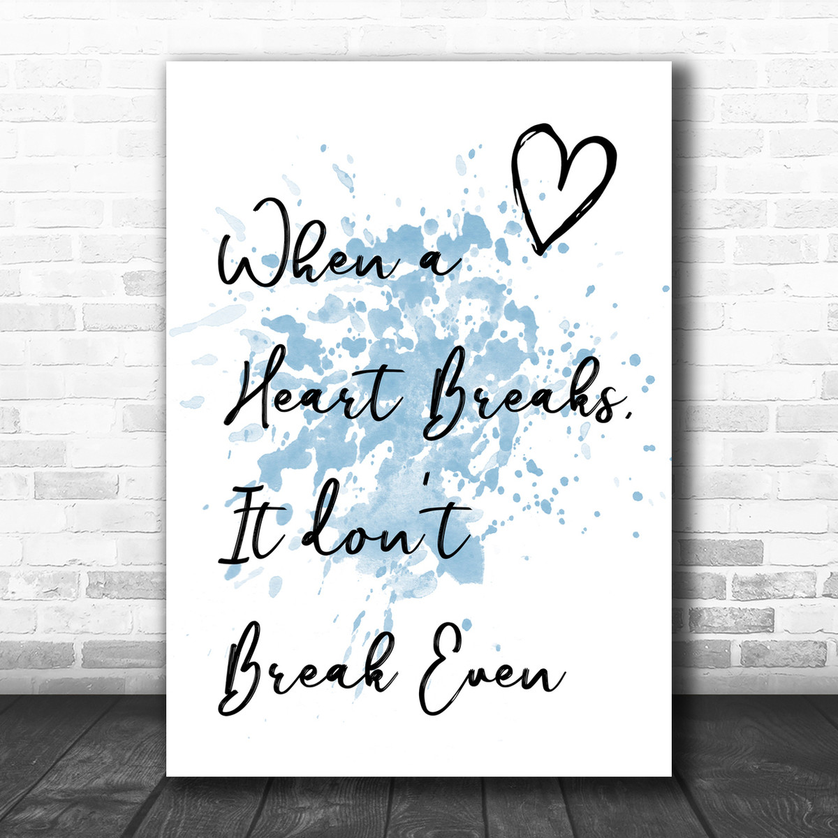 Beauty And The Beast Grey Heart Song Lyric Quote Print