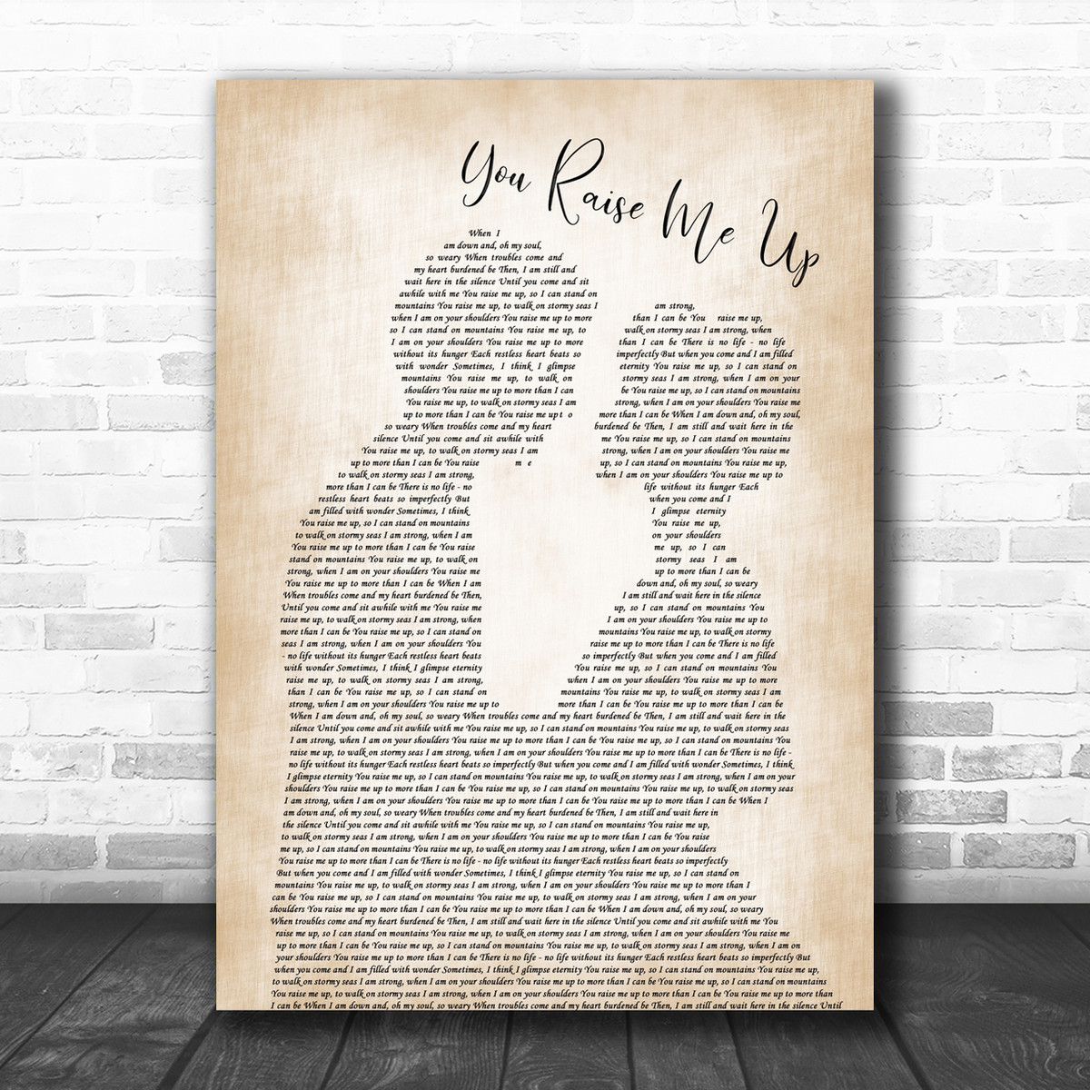 You Raise Me Up Man Lady Couple Song Lyric Quote Print