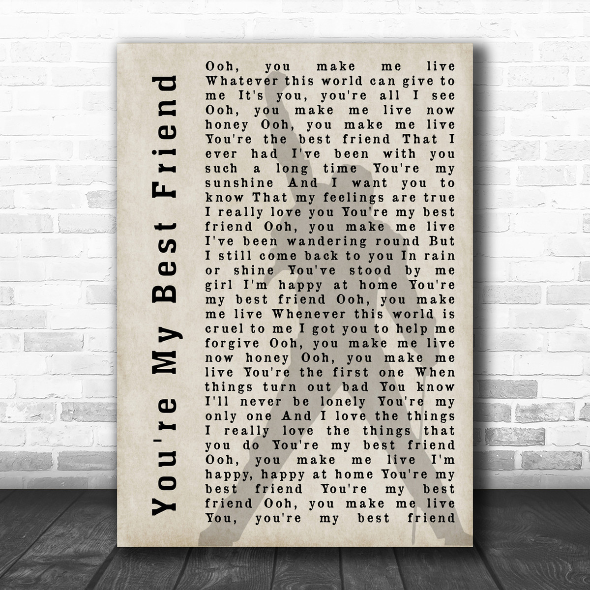 Queen You're My Best Friend Freddie Mercury Shadow Song Lyric Music Wall  Art Print