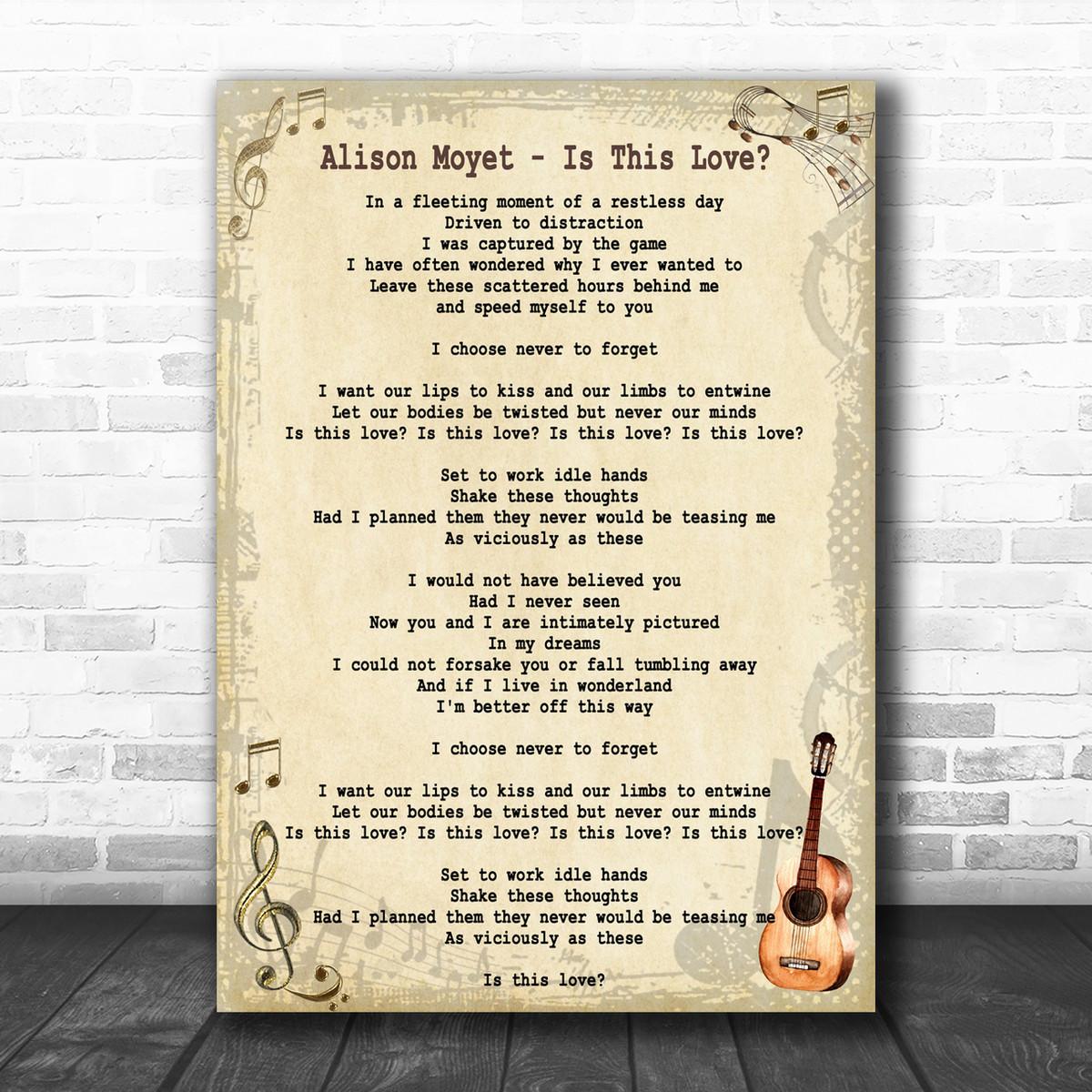Alison Moyet Is This Love Song Lyric Music Wall Art Print Song Lyric Designs