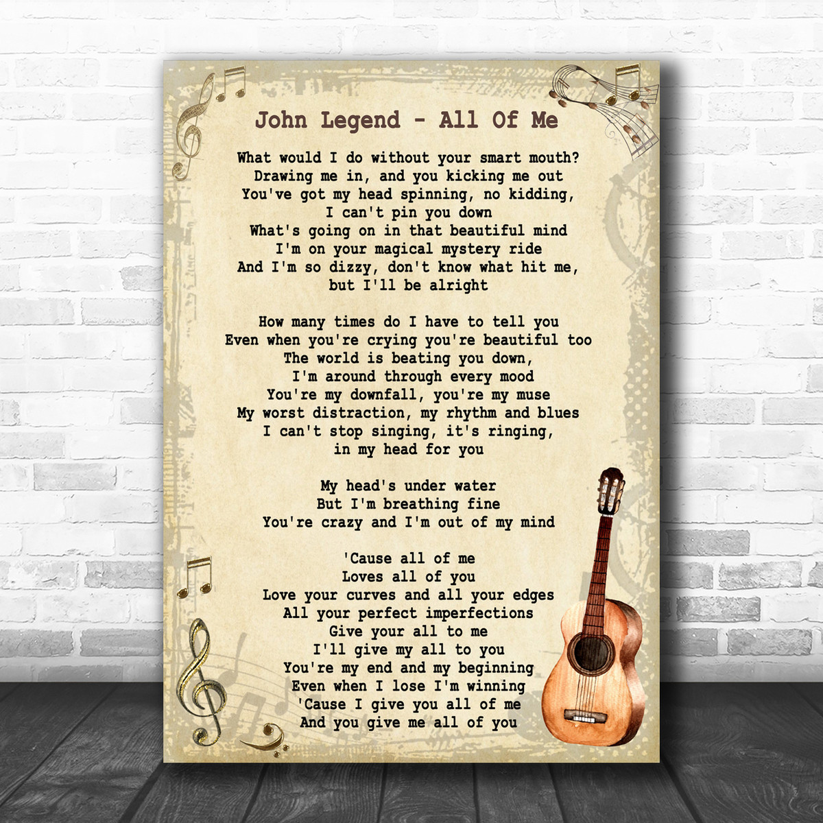 John Legend All Of Me Song Lyric Vintage Music Wall Art Print