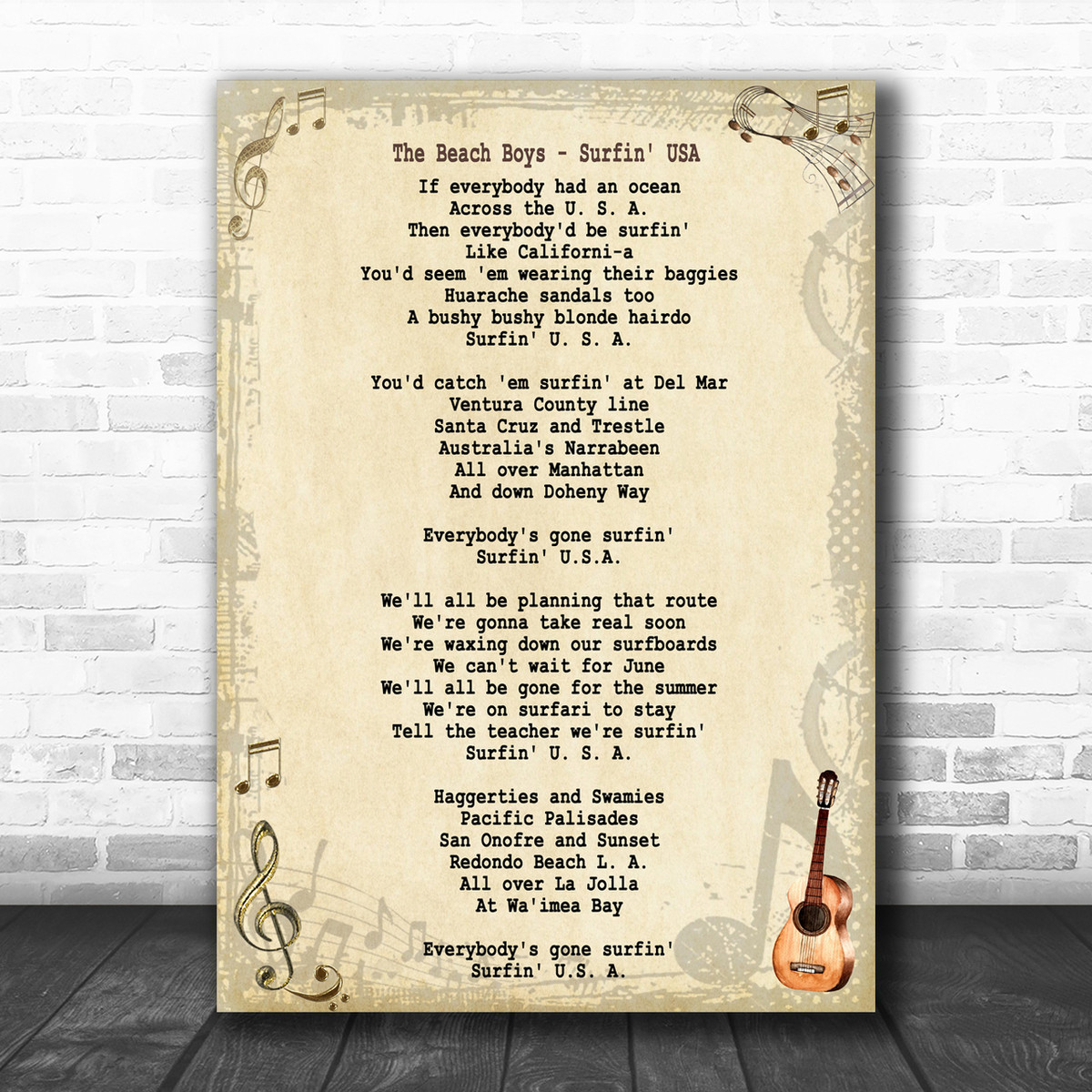 The Beach Boys Surfin Usa Song Lyric Music Wall Art Print