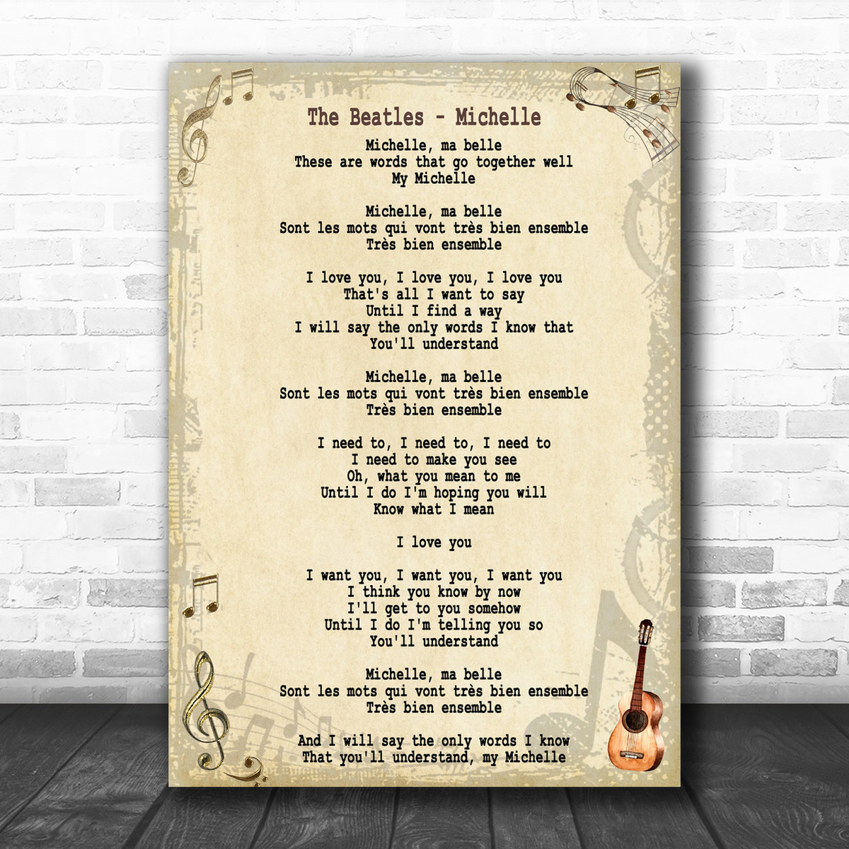 The Beatles Michelle Song Lyric Music Wall Art Print