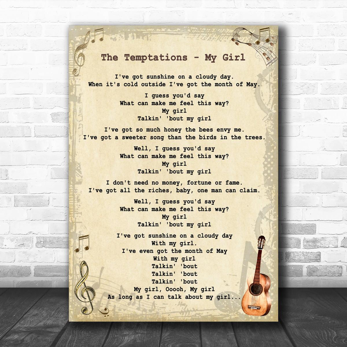 My Girl Song Lyric Vintage Script Quote Print