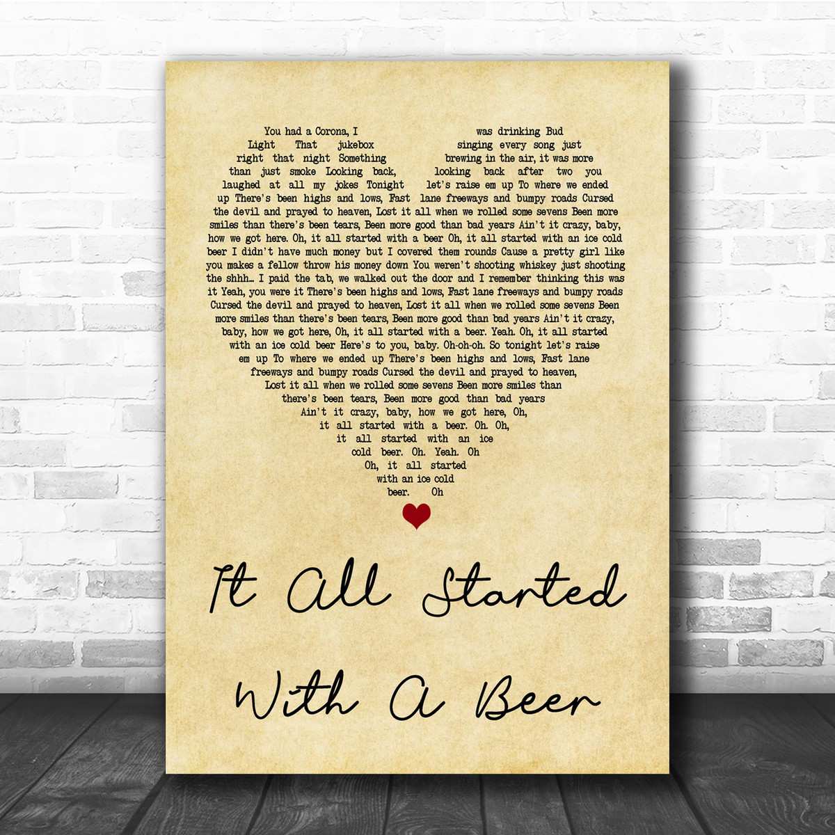 Frankie Ballard It All Started With A Beer Vintage Heart Song Lyric Music  Wall Art Print