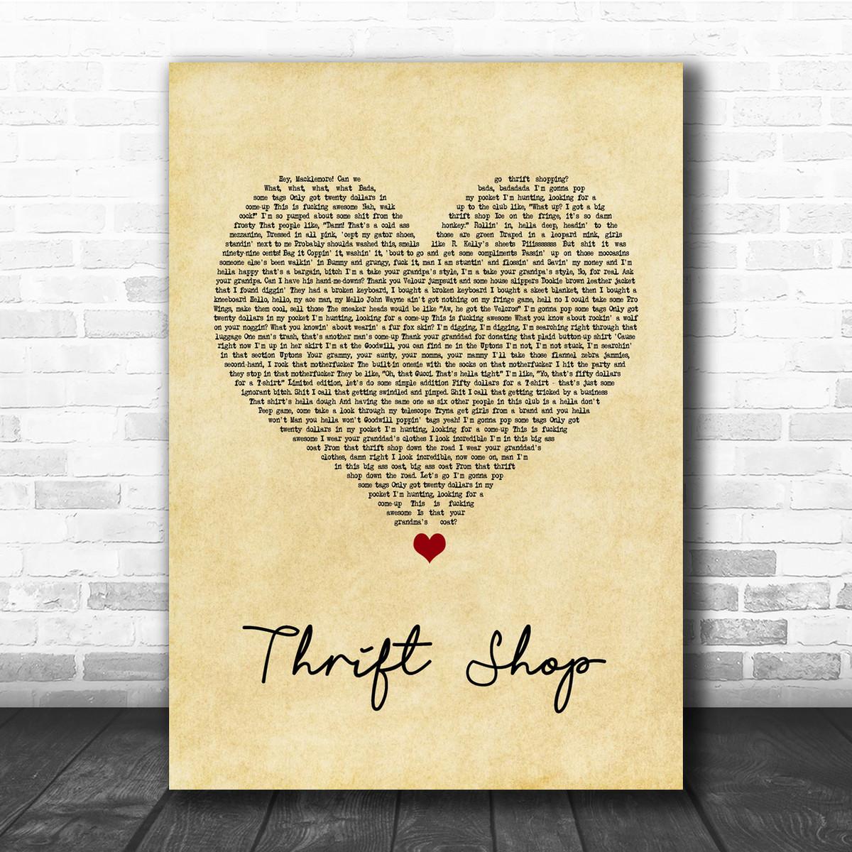 Macklemore & Ryan Lewis Thrift Shop Vintage Heart Song Lyric Music Wall Art  Print