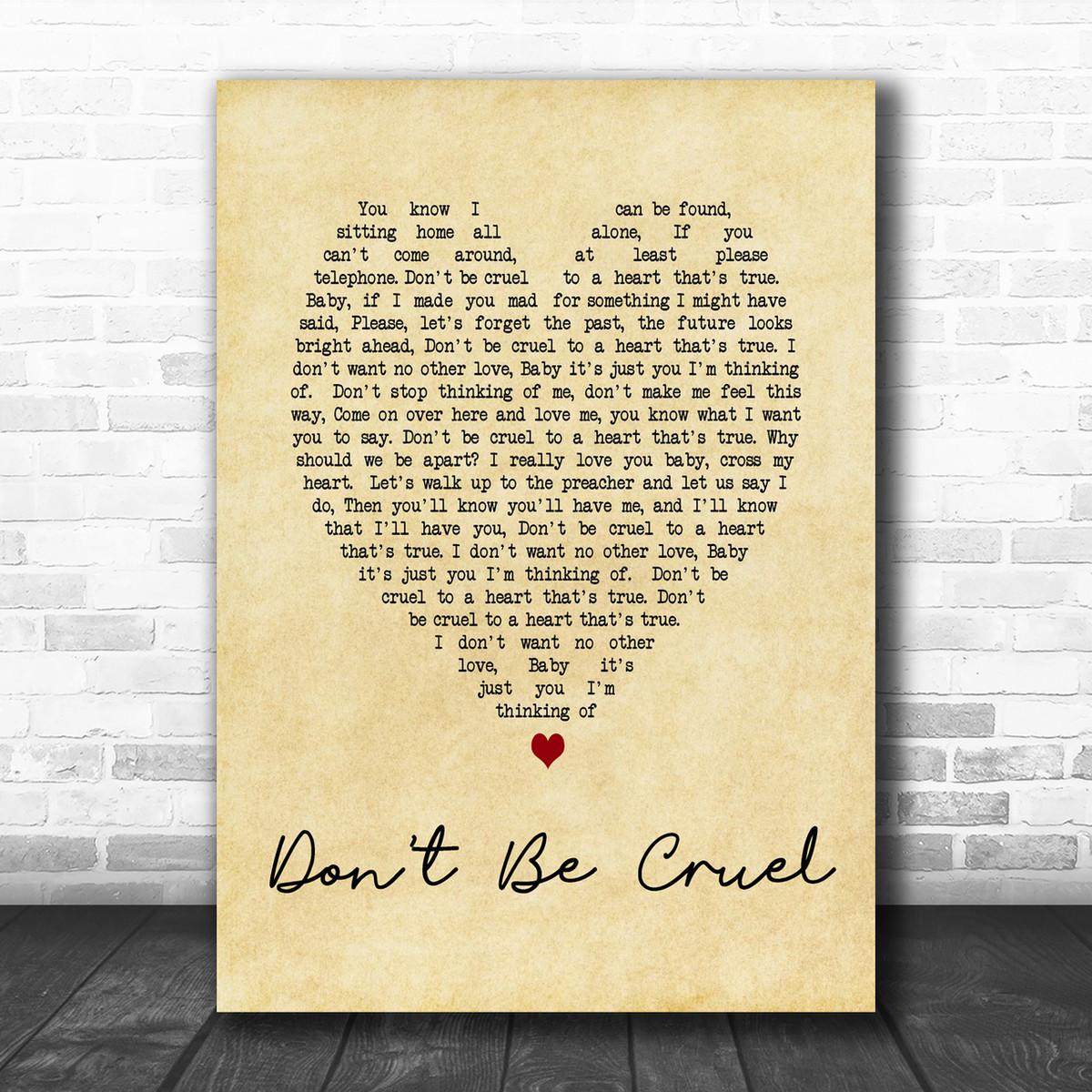 Elvis Presley Don T Be Cruel Vintage Heart Song Lyric Music Wall Art Print Song Lyric Designs