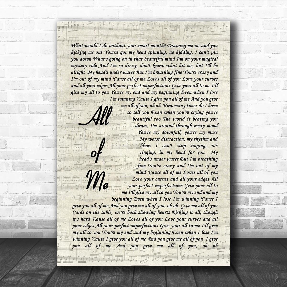 All Of Me John Legend Song Lyric Vintage Script Music Wall Art Print Song Lyric Designs