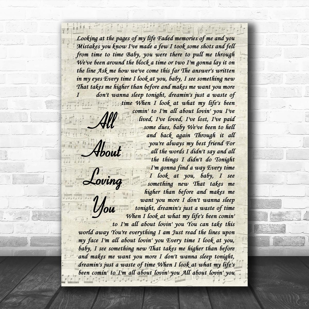 Bon Jovi All About Loving You Vintage Script Song Lyric Music Wall Art Print