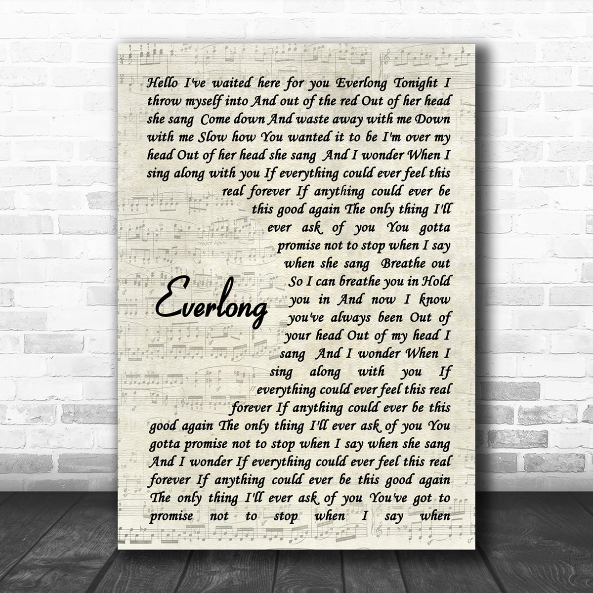 Everlong Heart Song Lyric Quote Print